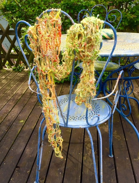 Hand spun and knitted glittery scarf