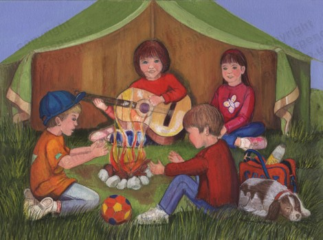 Children Singing Around Camp Fire