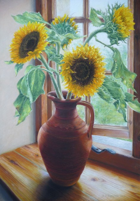 Sunflowers on Windowsill