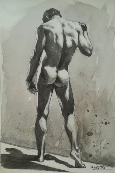 watercolor painting male nude008